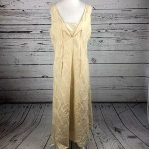 Calvin Klein Beige Linen Tie Neck Sleeveless Dress